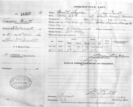 Enlistment document, 1906