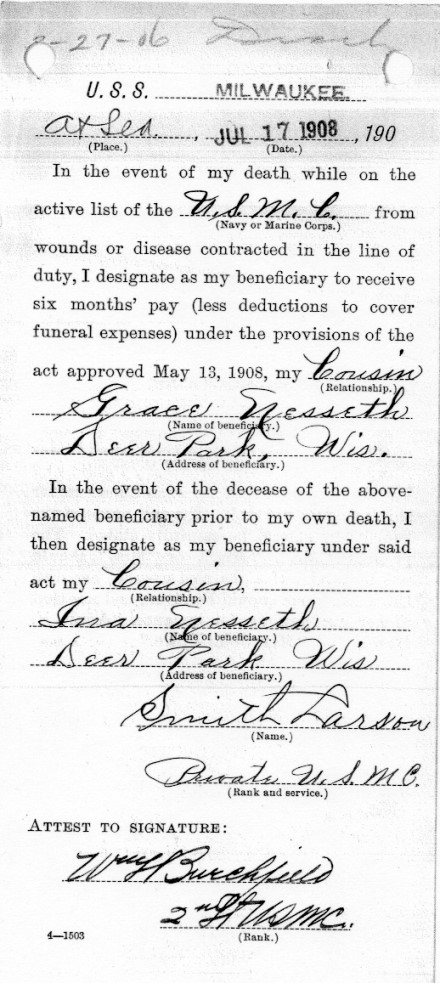1908 Smith beneficiary