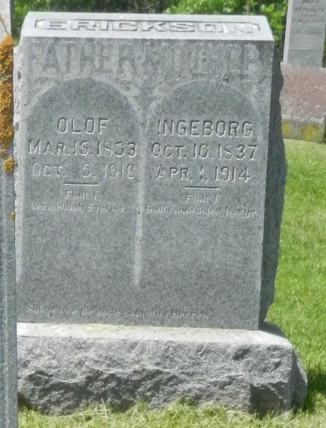 1918 Olof Erickson stone