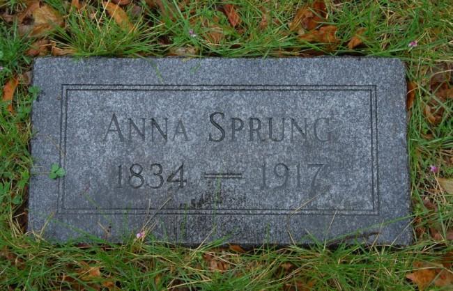 1895-1917 Anna Sprung stone