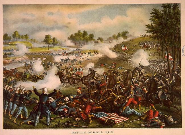 """""""First Battle of Bull Run,"""" chromolithograph by Kurtz & Allison"""