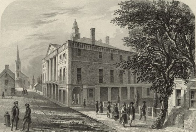 """Old City Hall, Wall St., N.Y."" Steel engraving by Robert Hinshelwood, from Washington Irving's Life of George Washington, 5 vol. (1855-59)"