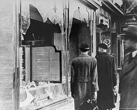"""Kristallnacht example of physical damage"". Licensed under Fair use via Wikipedia"